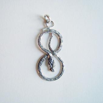 Pendant - silver snake 50 mm