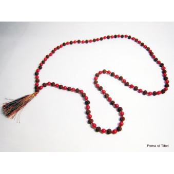Prayer beads Mala with coral and Rudrakhasha Fruit