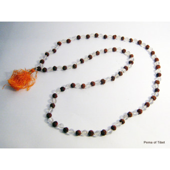 Prayer Beads Mala with Crystal Rudrakhasha Fruit
