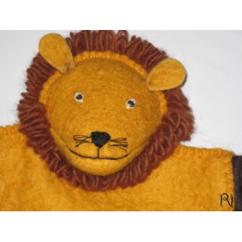 Hand puppets - felt lion yellow