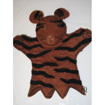 Hand puppets - felt tiger, brown