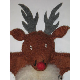 Hand puppets - felt moose, brown white