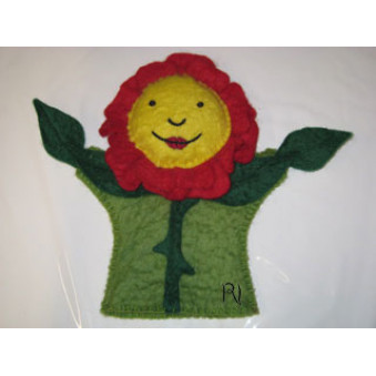 Hand puppets - felt lotus flower, yellow-green-red