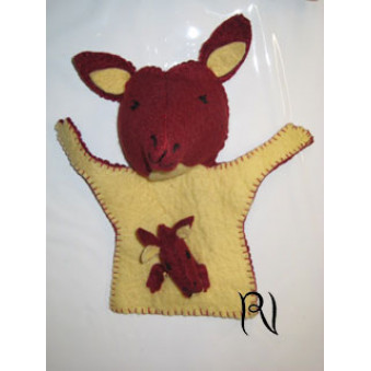 Hand puppets - felt kangaroo with baby, brown - beige