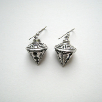 Earrings - carved silver pendulum