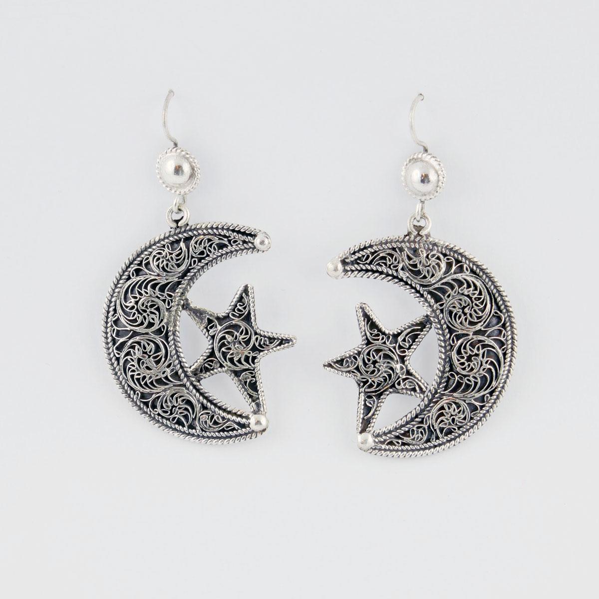 Earrings moon star with fine filigree work, silver