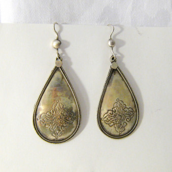 Dangle earrings - silver drop earrings Vajra carved