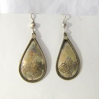 Dangle earrings - silver drop earrings Vajra carved