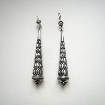 Earrings - Silver Cone Waves L