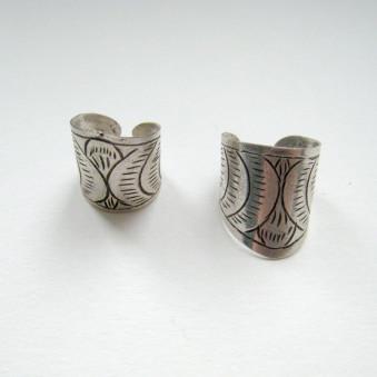 Earrings - carved silver ear clips
