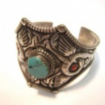 BR-01 bangle Peacock open carved with turquoise 800-silver handmade hand forged Nepal