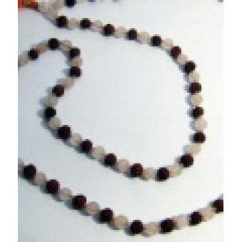 Prayer beads Mala with Rose Quartz Rudrakhasha fruit