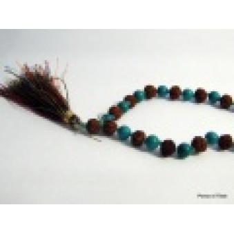 Prayer beads Mala with turquoise Rudrakhasha fruit