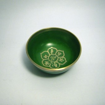 New singing bowls silver OM in lotus flower, green, 8 cm