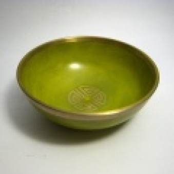 New Singing Bowl Silver Shou coin, yellow-green, 10 cm