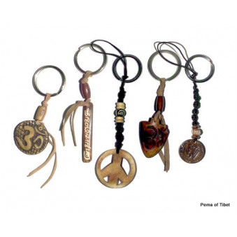 Keychain leather strap with motif
