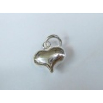 Silver parts, polished heart 11 mm