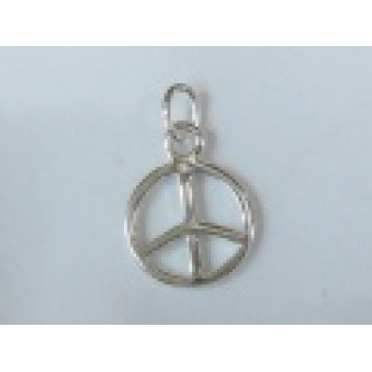 Silver parts, polished Peace 10 mm