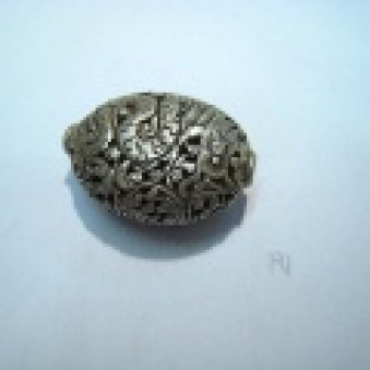 Silver parts, Tibetstyle oval, 30 x 22 mm